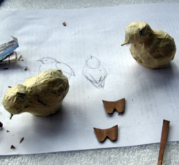 Paper Mache Bluebirds, Step 6