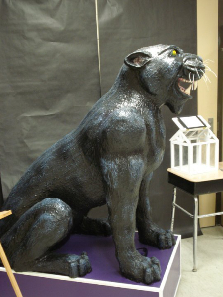 Paper Mache Panther Mascot, Side View