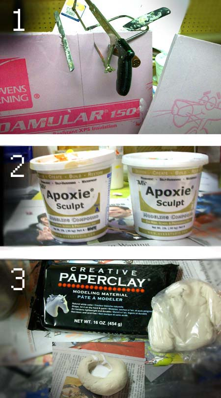 Rigid Foam Apoxy Sculpt and Creative Paperclay