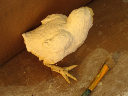 Adding Paper Mache Clay to Baby Chick