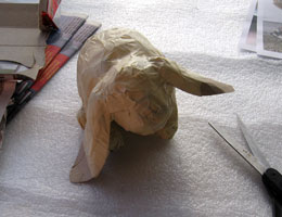 Paper Mache Lop-Eared Rabbit, Step 5