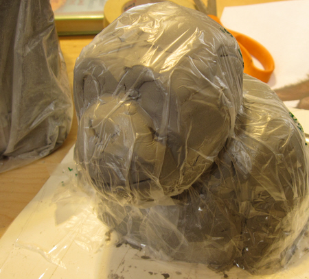 Paper Mache Clay Chimp Bust, Step 2