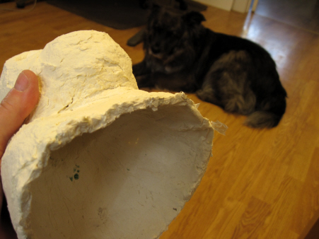 Paper Mache Clay Chimp - Inside View, with Dog