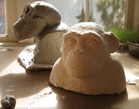 Paper Mache Clay Experiment - Chimp Bust