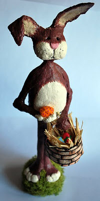 Easter Bunny, Made with Paper Mache Clay