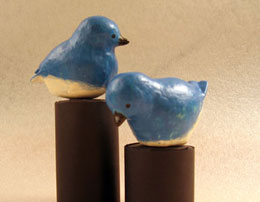 Completed Paper Mache Bluebirds
