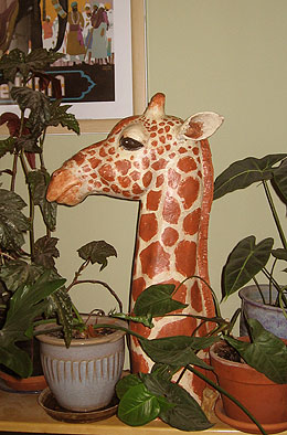 Paper Mache Giraffe, With Plants