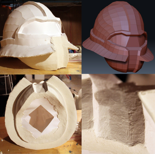 Helmet, Pepakura Model + Paper Mache Clay, in progress