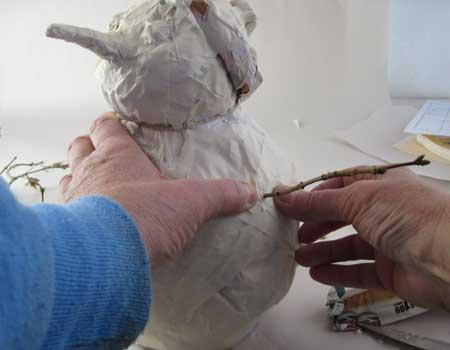 Paper Mache Clay Snowman, Step 3