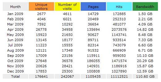 Website Traffic for UltimatePaperMache.com 2009