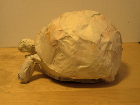 Endangered Ploughshare Tortoise Sculpture, Ready for Paper Mache Clay