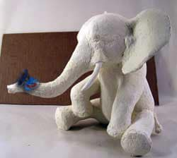 African Elephant Sculpture, With Paper Mache Butterfly