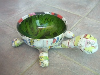 Paper Mache Tortoise Bowl