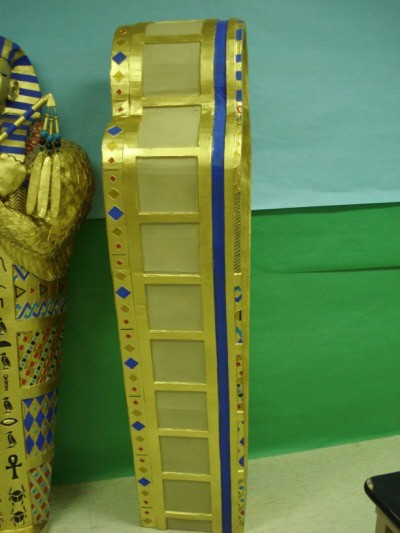 Paper Mache Sarcophagus, from the side
