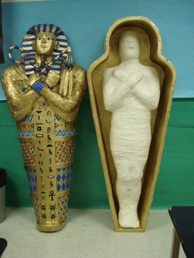 Paper Mache Mummy and Sarcophagus