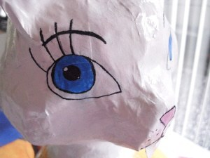 Paper Mache Fantasy Animal - Eye Detail