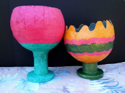 Paper Mache Vessels, After Painting