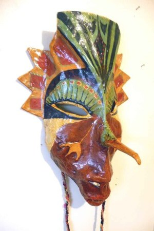 Paper Mache Bird Mask - Side View