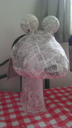 "Paper Mache over the Plastic Bag ""beak"""