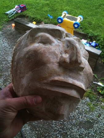 Paper Mache Mask Before Finishing