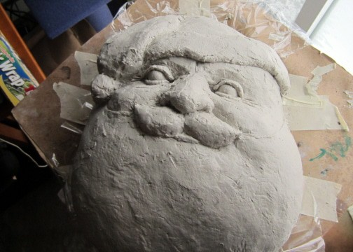 Santa Portrait Mask, Made with Paper Mache Clay