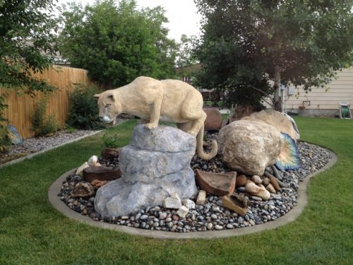 Finished Concrete Mountain Lion Sculpture